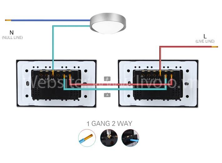 Công tắc cảm ứng Livolo 2 chiều 1 phím bấm