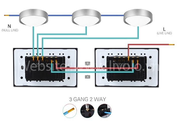 Công tắc cảm ứng Livolo 2 chiều 3 phím bấm