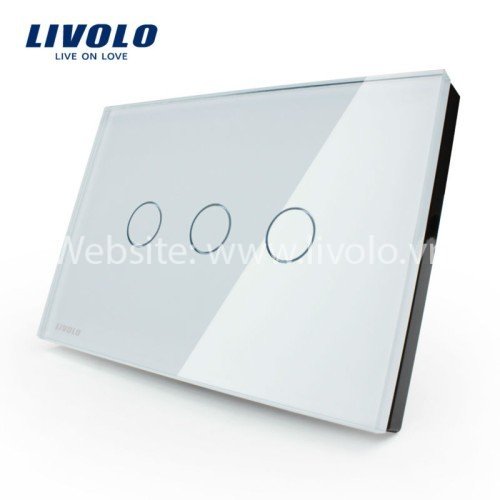 Công tắc cảm ứng chạm kính cường lực 3 phím nhấn Livolo