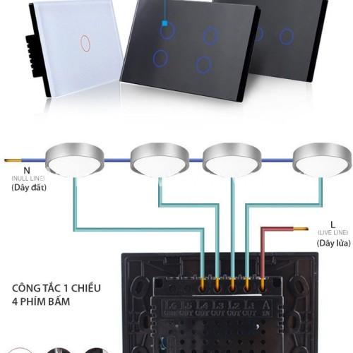 Công tắc cảm ứng chạm kính cường lực 4 phím nhấn Livolo